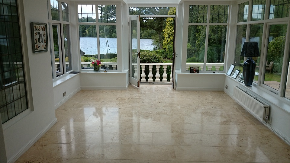 Travertine Floor Restoration, Cleaning, Filling, Polishing