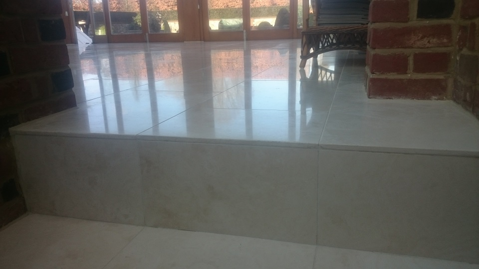 Travertine Floor Restoration After Cleaning and Polishing In Kent