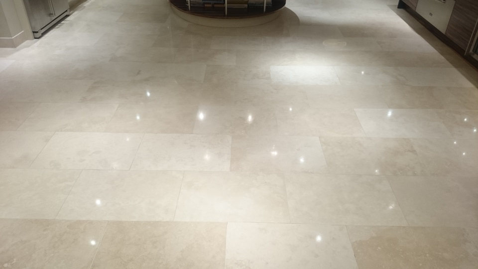 Beautiful Travertine Floor After Restoration, Cleaning, Polishing and Sealing